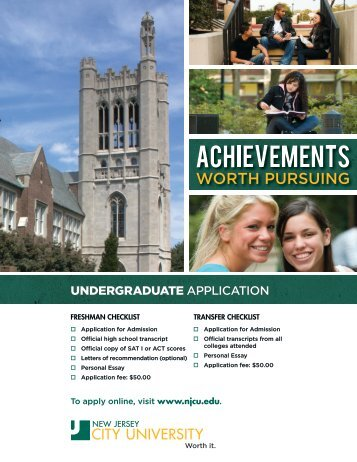 Undergraduate Application for Admission - New Jersey City University