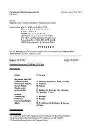 P rotokoll - Fachbereich Rechtswissenschaft der Universität Bremen