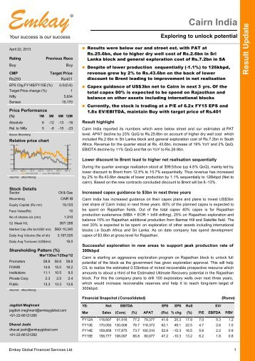 Cairn India Q4FY13 Result Update - Emkay Global Financial ...