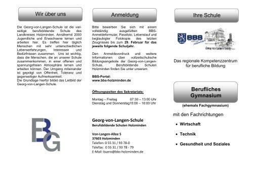 Wir über uns Anmeldung Ihre Schule Berufliches ... - BBS-Holzminden