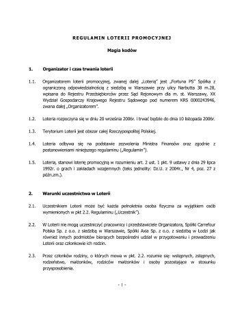 """Regulamin loterii """"Magia Kodów 2006"""" - Fortuna PS logo"""
