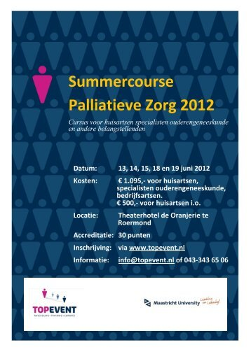 Flyer 'Summercourse Palliatieve Zorg 2012' - Agora landelijk ...