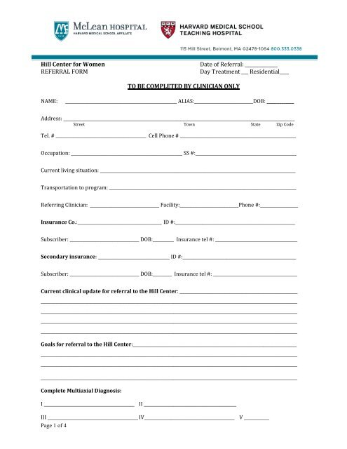 Please Fax Referral Form - McLean Hospital