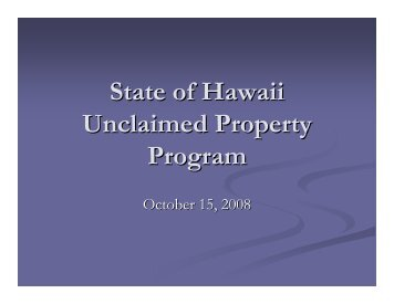 State of Hawaii Unclaimed Property Program