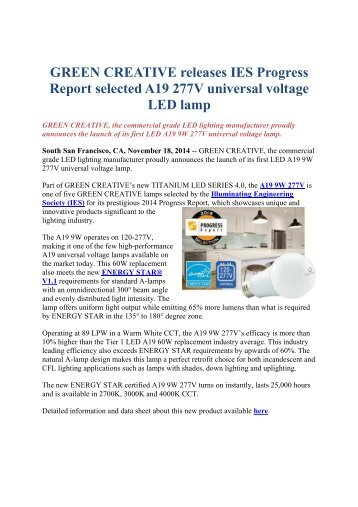 GREEN CREATIVE releases IES Progress Report selected A19 277V universal voltage LED lamp