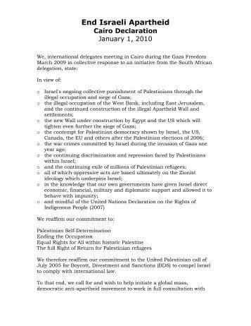 End Israeli Apartheid Cairo Declaration