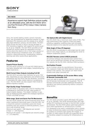 Sony : Product Information : EVI-HD3V (EVIHD3V) : Other - Elvia CCTV