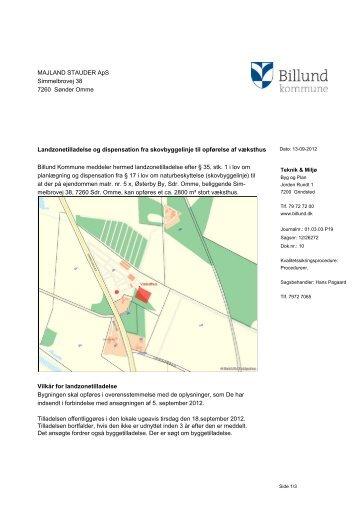 Landzonetilladelse, opførelse af væksthus ... - Billund Kommune