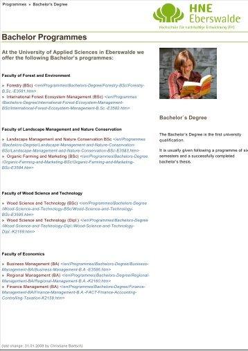 Bachelor Programmes - HNE Eberswalde
