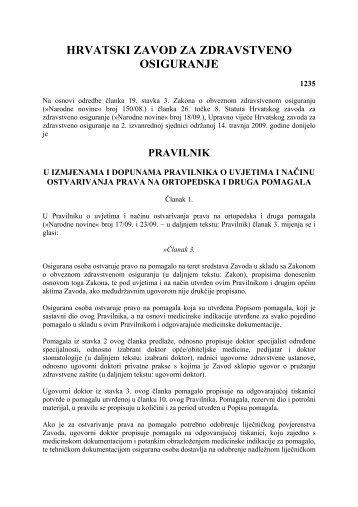 pravilnik - Hrvatski zavod za zdravstveno osiguranje