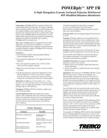 POWERply™ APP FR - US Data Sheet - Tremco Roofing