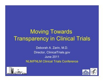 Moving Towards Transparency in Clinical Trials - Friends of the ...