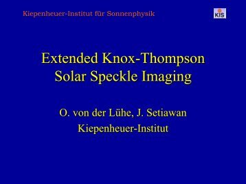 Extended Knox-Thompson Solar Speckle Imaging