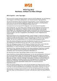 WTA-Tag 2012 Nachlese, verfasst von Marc Ellinger - WTA-Schweiz