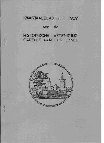 Nieuwsbrief 1989 nr. 1 - Historische Vereniging Capelle aan den ...