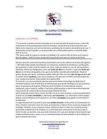 Viviendo como Cristianos - Iglesia Biblica Bautista de Aguadilla ...