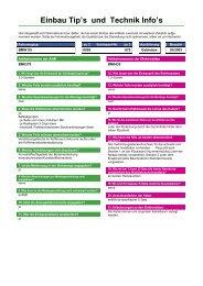 Einbau Tip's und Technik Info's