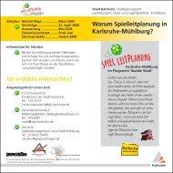 Flyer Spielleitplanung Mühlburg - Kinderfreundliche Stadtgestaltung