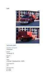 Technische Daten Hersteller Fahrgestell Volkswagen Modell ...