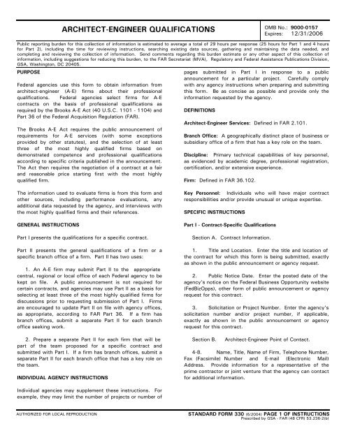 Standard Form 330 - Architect-Engineer Qualifications
