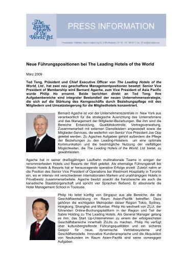 Neue Führungspositionen bei The Leading Hotels of the World