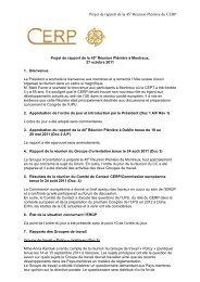 Projet de rapport de la 45 Réunion Plénière du CERP - Cept