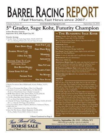 5th Grader, Sage Kohr, Futurity Champion - Barrel Racing Report