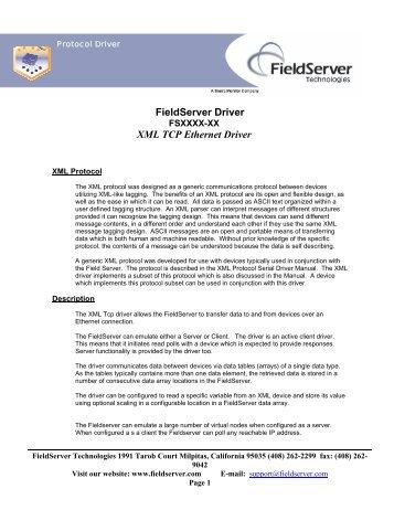 FieldServer Driver XML TCP Ethernet Driver