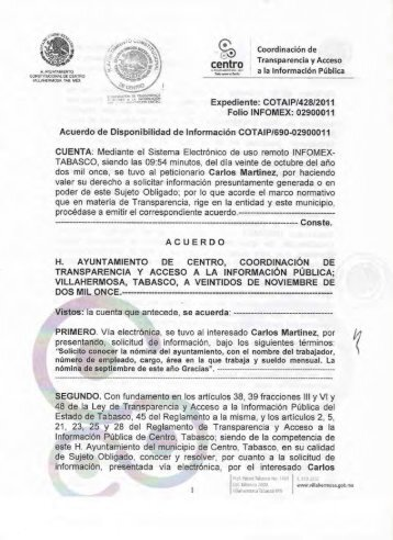 informacion disponible en medios electronicos - H. Ayuntamiento de ...