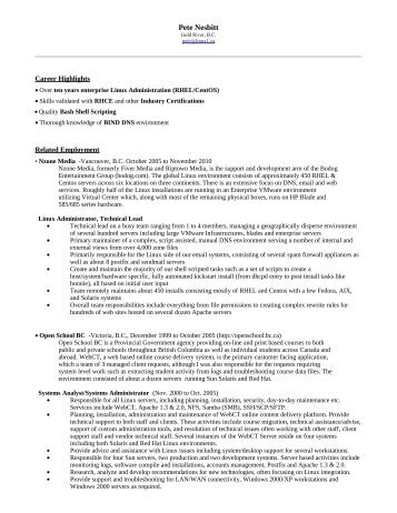 Resume of - Pete Nesbitt