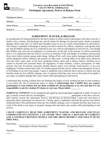 Participation Agreement And Release Form