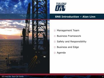 Download the Southern North Sea Introduction PDF - Tullow Oil plc