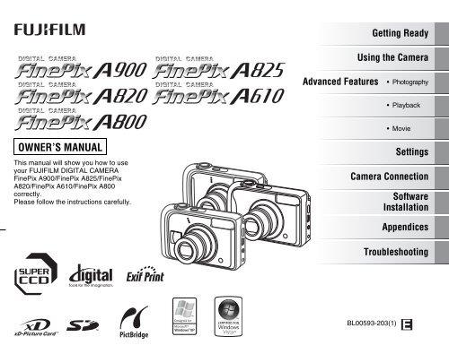 FinePix A900 / FinePix A825 / FinePix A820 / FinePix A610 ... - Fujifilm