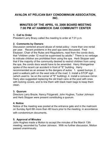 avalon at pelican bay condominium association, inc. minutes of the ...