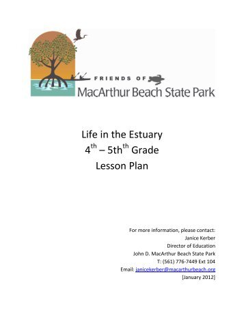 5th Grade Lesson Plan - John D. MacArthur Beach State Park