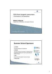 SOA from biogenic precursors - Summer School on Organic Aerosols