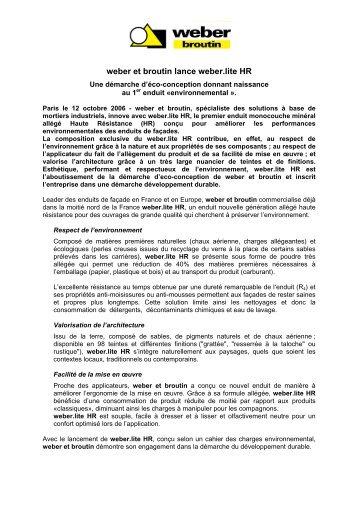 Enduits minces organiques weber - Weber prim ad ...