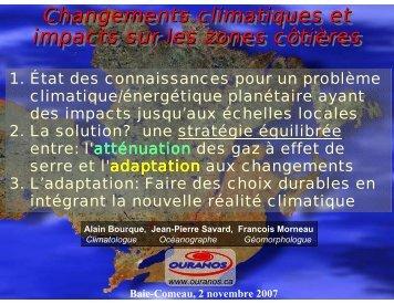 Changements climatiques et impacts sur les zones côtières ...