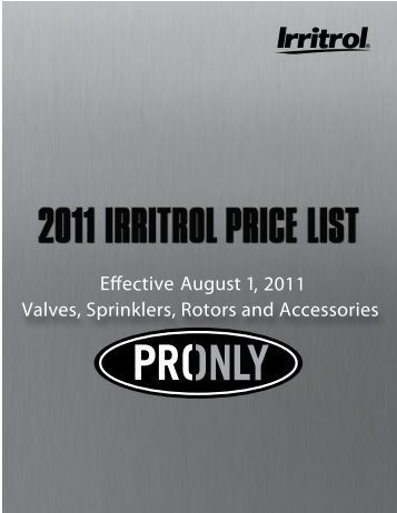 Irritrol Price List - Rain Master Control Systems
