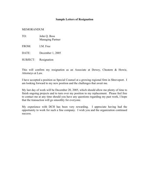Sample Letter Of Resignation Letter from img.yumpu.com