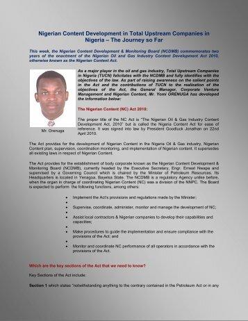 Nigerian Content Development in Total Upstream ... - TOTAL Nigeria