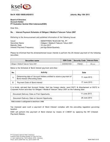 interest payment schedule of obligasi berkelanjutan ksei