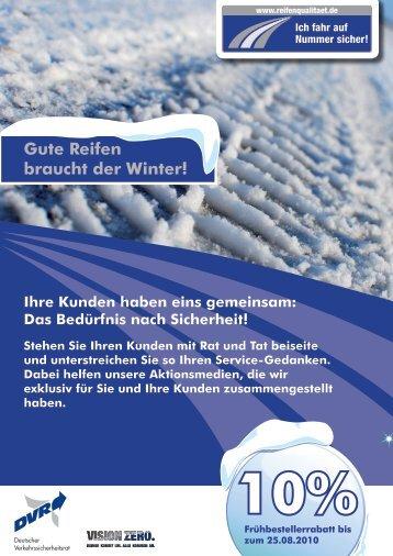 Gute Reifen braucht der Winter! 10% - Reifenqualitaet