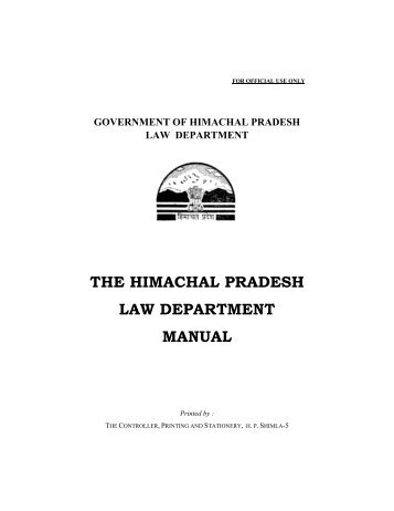 the himachal pradesh law department manual - Government of ...