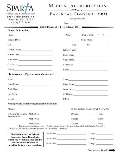 MEDICAL AUTHORIZATION PARENTAL CONSENT FORM