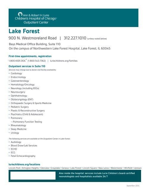 Lake Forest - Ann & Robert H  Lurie Children's Hospital of