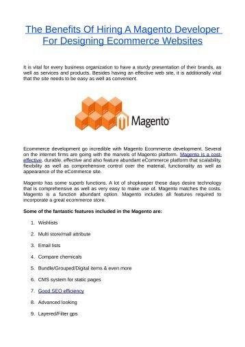 The Benefits Of Hiring A Magento Developer For Designing Ecommerce Websites