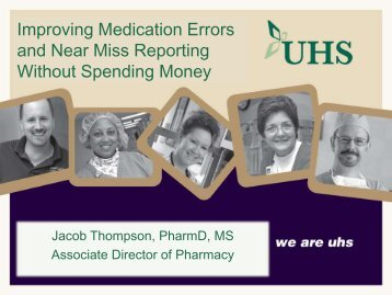 Improving Reporting and Using Data from Medication Errors and ...