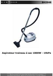 BH2948 Aspirateur traineau à sac 1800W - 19kPa - BOB HOME