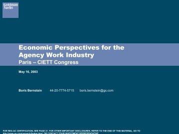 Goldman Sachs presentation - Economic perspectives for the ... - Ciett
